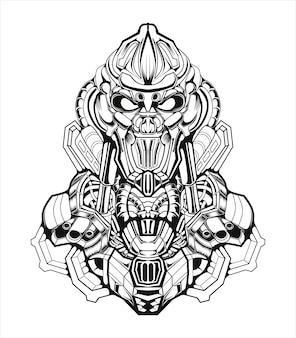 Illustration de robot guerrier mecha croquis noir