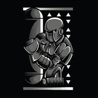 Illustration de robot en noir et blanc de boxe