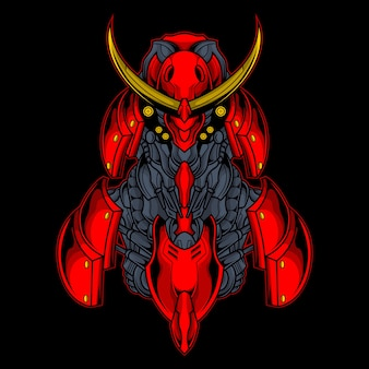 Illustration de robot samouraï rouge
