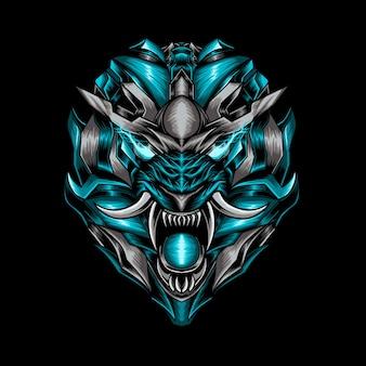 Illustration de robot tête de tigre mythique bleu