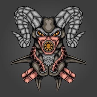 Illustration robotique de chèvre mecha