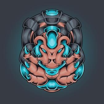 Illustration robotique tête de monstre extraterrestre