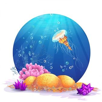 Illustration de roches sous-marines avec des algues et des poissons amusants