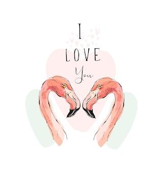 Illustration romantique dessinée à la main avec couple de deux flamants roses et citation de calligraphie moderne je t'aime