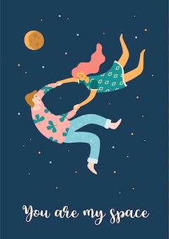 Illustration romantique avec des gens