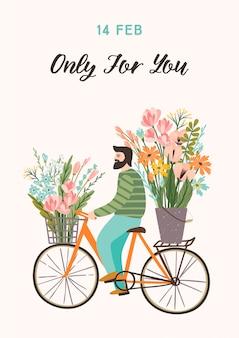 Illustration romantique avec homme mignon et fleurs.