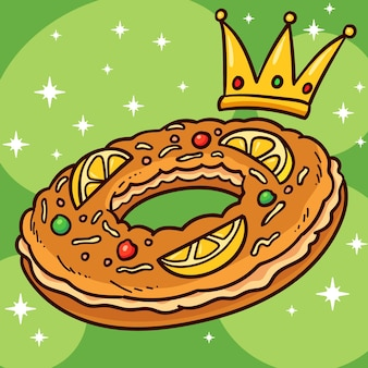 Illustration de roscón de reyes dessiné à la main