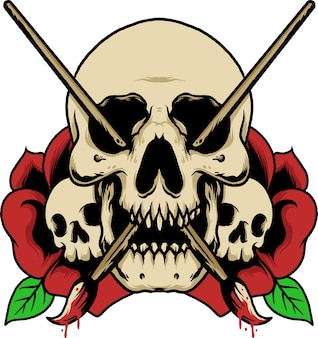 Illustration de rose art crâne maussade