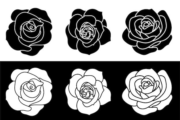 Illustration de roses noires et blanches isolées