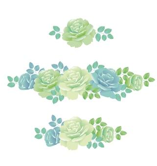 Illustration de roses de printemps tendres. élément de design floral abstrait couleur bleu pâle et vert.