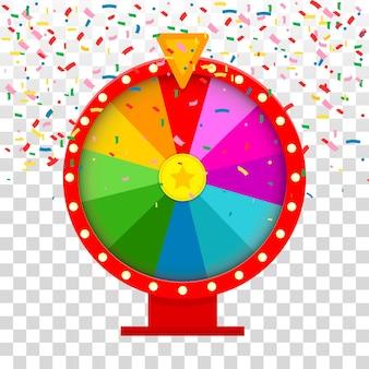 Illustration de la roue de la fortune et des confettis