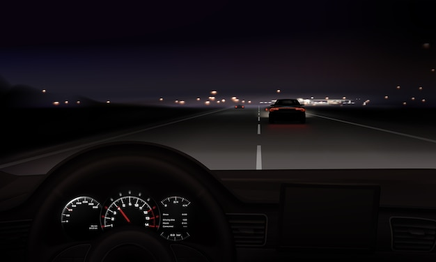 Illustration de la route de nuit avec vue réaliste du volant de voiture sur fond de lumières de la ville