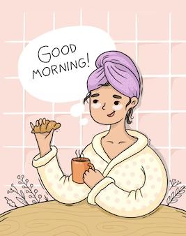 Illustration de routine bonjour dessiné à la main