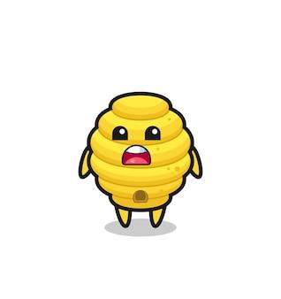 Illustration de la ruche d'abeilles avec une expression d'excuse, disant que je suis désolé, design mignon