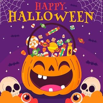 Illustration de sac halloween plat dessiné à la main