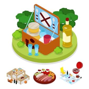Illustration de sac de pique-nique barbecue isométrique