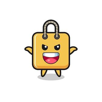 L'illustration d'un sac à provisions mignon faisant un geste effrayant, un design de style mignon pour un t-shirt, un autocollant, un élément de logo