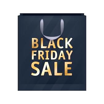 Illustration de sac shopping noir vendredi vente papier.