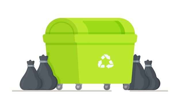 Illustration de sacs poubelle debout près de la poubelle. poubelle de recyclage verte.