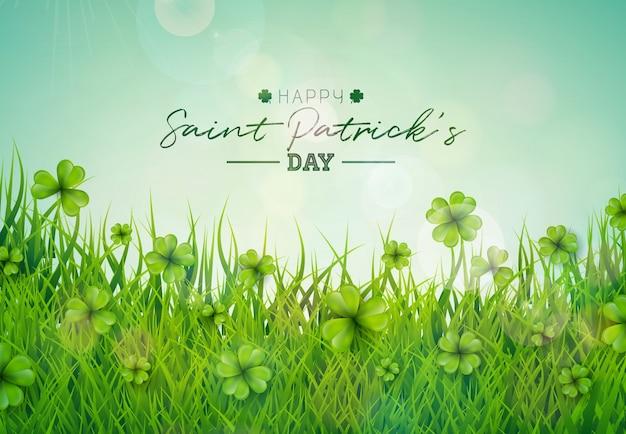 Illustration de saint patricks day avec champ de trèfles verts sur fond de ciel bleu.