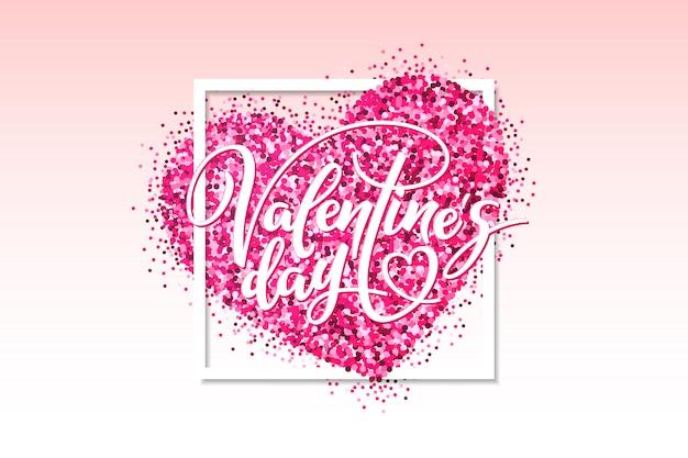 Illustration de la saint-valentin avec coeur rose pailleté et lettrage