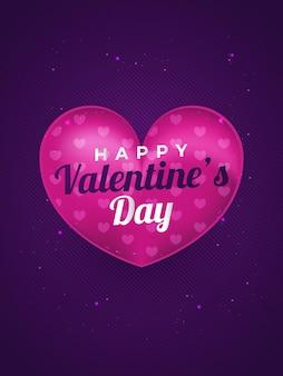 Illustration de la saint-valentin avec des coeurs roses 3d et effet de paillettes