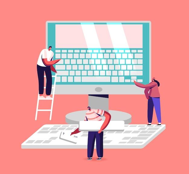 Illustration de la saisie de personnes, du travail de bureau, de l'éducation et de la technologie