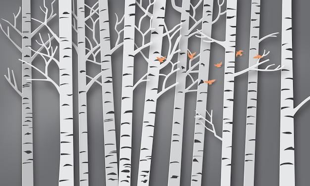 Illustration de la saison d'hiver, bird vole dans la forêt, l'art du papier et de l'artisanat.