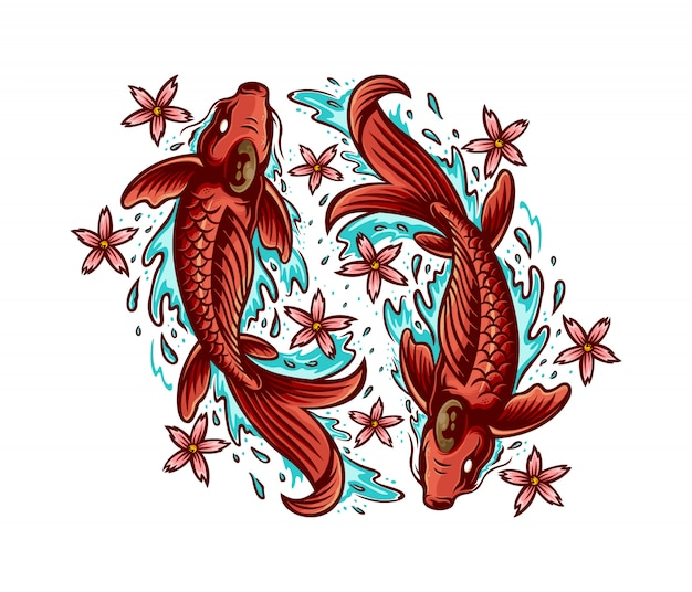 Illustration de sakura poisson koi