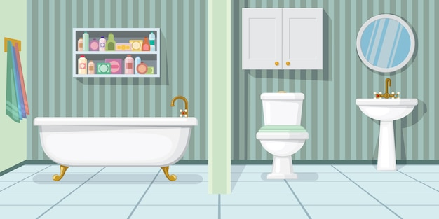 Illustration de la salle de bain à la mode