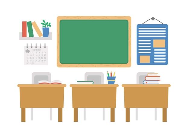 Illustration de salle de classe vide de vecteur. intérieur de la salle de classe plate avec tableau noir