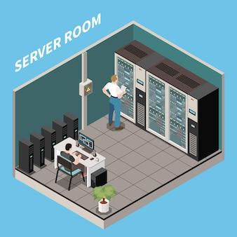 Illustration de la salle du serveur de composition du centre de données isométrique