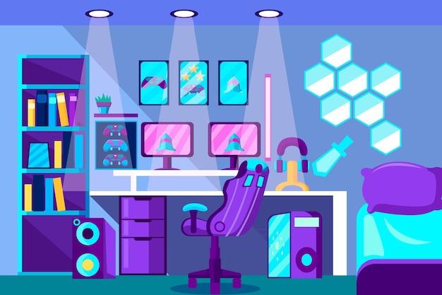 Illustration de salle de jeu plat organique