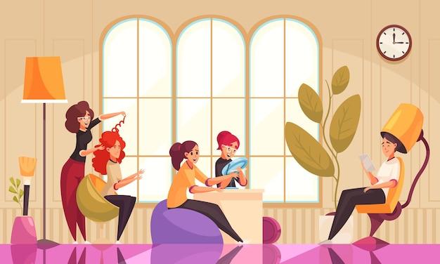 Illustration de salon de coiffure et esthéticienne de maquillage
