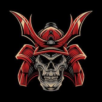 Illustration de samouraï crâne sur dark