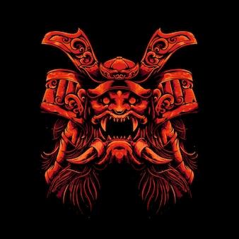 Illustration de samouraï monstre tête mécha