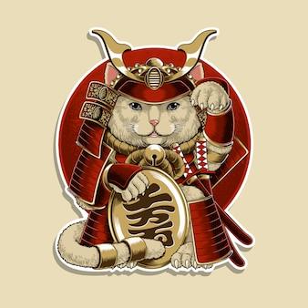 Illustration de samouraï neko de chat porte-bonheur japonais
