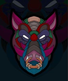Illustration de sanglier animal à colorier stylisé zentangle