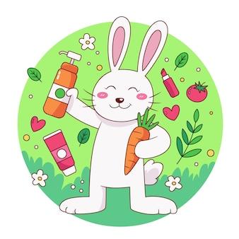 Illustration sans cruauté et végétalienne dessinée à la main