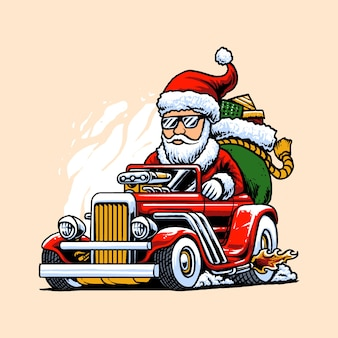 Illustration de santa hot rods