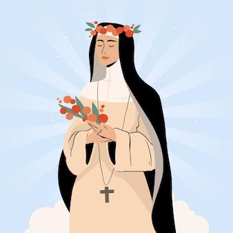 Illustration de santa rosa de lima dessinée à la main