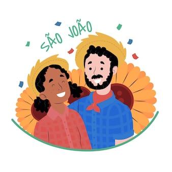 Illustration de sao joao dessiné à la main