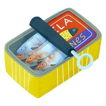 Illustration de sardine aquarelle peinte à la main