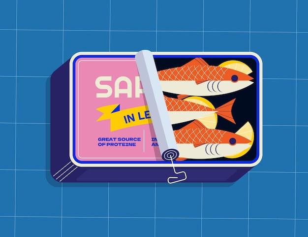 Illustration de sardine en conserve dessinée à la main
