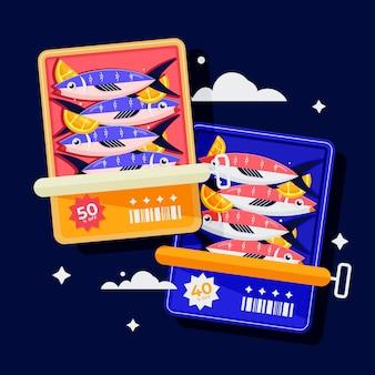 Illustration de sardine en conserve plate