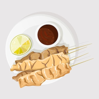 Illustration de satay dessiné à la main