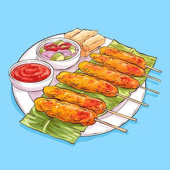 Illustration de satay dessinée à la main