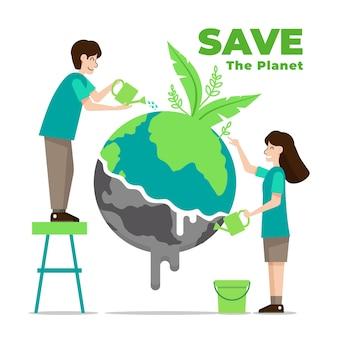 Illustration avec sauver la conception de la planète