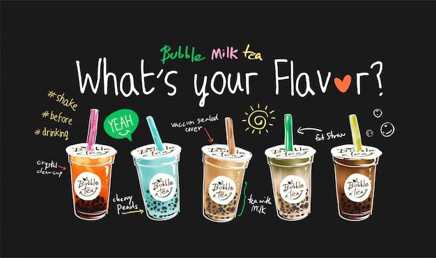 Illustration de saveurs de thé bulle avec slogan