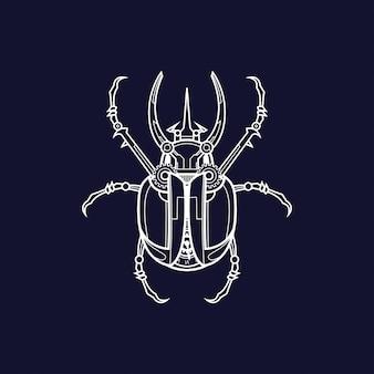 Illustration de scarabée mécanique, conception de tatouage et de tshirt